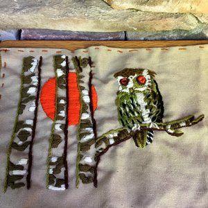 Vintage Crewel Owl Completed Unframed 70s Boho
